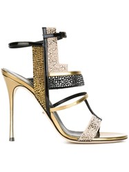 Sergio Rossi 'Tamara Hill Christall' Sandals Metallic