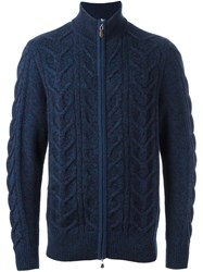 N.Peal Zip Through Cable Cardigan Blue