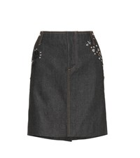Coach Denim Embellished Mini Skirt Black
