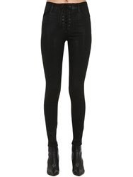 J Brand Lace Up Skinny Coated Denim Jeans Black