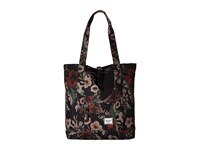 Herschel Market Hawaiian Camo Black Leather Tote Handbags