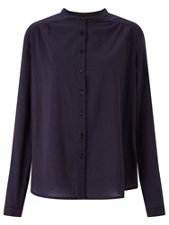 John Lewis Collection Weekend By Collarless Shirt Navy