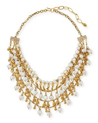 Sequin Swarovski Crystal Pearl Bead Tiered Necklace Gold