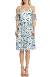 Willow And Clay Embroidered Cold Shoulder Dress Teal