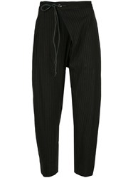 Attachment Pinstriped Tapered Trousers Black