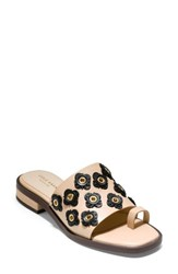 Cole Haan Carly Floral Sandal Nude Black Leather