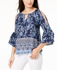 Amy Byer Bcx Juniors' Printed Ruffle Sleeved Cold Shoulder Blouse Blue