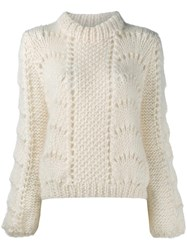 Ganni Long Sleeve Jumper Nude And Neutrals