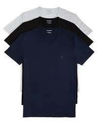 Emporio Armani Pure Cotton V Neck T Shirts Pack Of 3 Grey Black Navy
