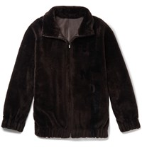 Fendi Logo Intarsia Shearling Bomber Jacket Brown