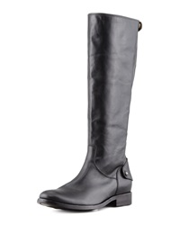 Melissa Leather Back Zip Extended Calf Boot Black Frye