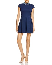 Aqua Jewel Ponte Dress Dark Navy W Blue Jewels