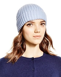 C By Bloomingdale's Cashmere Ribbed Hat Sky Blue