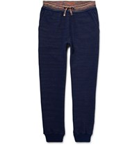 Missoni Tapered Melange Knitted Cotton Sweatpants Midnight Blue