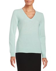 Lord And Taylor V Neck Cashmere Sweater Iced Aqua