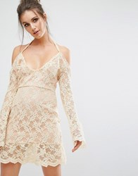 Missguided Cold Shoulder Lace Overlay Dress Nude Beige