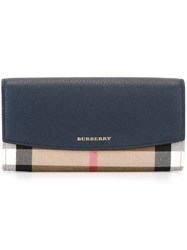 Burberry House Check Flap Wallet Blue