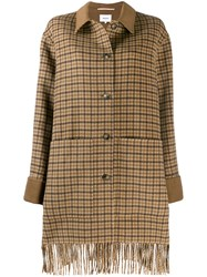 Nanushka Plaid Coat Brown