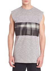 Plac Sleeveless Printed Muscle Tee Grey