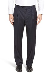 Hickey Freeman Men's Beacon Pleated Solid Wool Trousers Navy