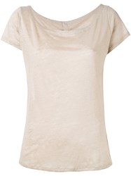 Majestic Filatures Plain T Shirt Women Linen Flax I Nude Neutrals
