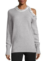 3.1 Phillip Lim Embellished Wool Yak And Cashmere Blend Sweater Foggy