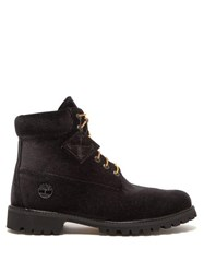 Off White X Timberland Velour Boots Black