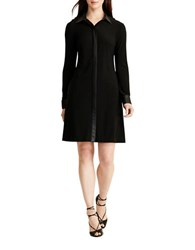Lauren Ralph Lauren Faux Leather Trim Shirtdress Black