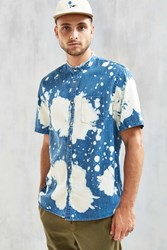 Urban Outfitters Uo Bleach Splatter Denim Band Collar Short Sleeve Shirt Indigo