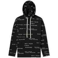 Drole De Monsieur Not From Paris All Over Print Popover Hoody Black