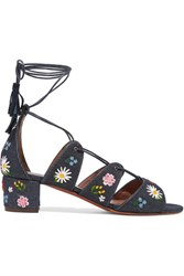 Tabitha Simmons Isadora Embroidered Denim Sandals Dark Denim