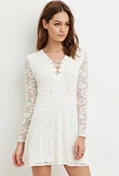 Forever 21 Embroidered Lace Mini Dress Cream