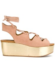 See By Chloe Liana Wedge Sandals Leather Suede Rubber Nude Neutrals