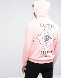 Asos Oversized Hoodie In Pink With Aztec Print Strawberry Cream