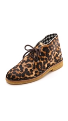 Studio Pollini Lace Up Faux Haircalf Booties Leopardo