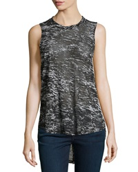 F.T.B By Fade To Blue Knit Racerback White Noise Tank Burnout