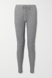 Madeleine Thompson Oceanus Waffle Knit Wool And Cashmere Blend Track Pants Gray