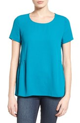 Pleione Women's Ruffled Peplum Back Top Teal Ocean