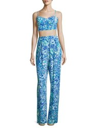 Lilly Pulitzer Lizzy Tank Top And Pants Set Blue Crush After Party