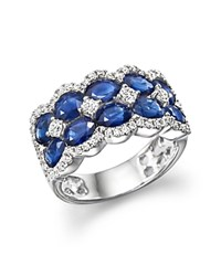 Bloomingdale's Diamond And Sapphire Double Row Ring In 14K White Gold Blue White