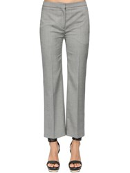 Alexander Mcqueen Straight Leg Cool Wool Crop Pants Grey