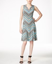 Jm Collection Chevron Print A Line Dress Only At Macy's Turquoise Chevron
