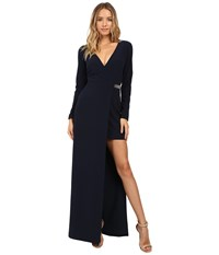 Halston Long Sleeve Gown Asymmetrical Slit And Chain Detail Navy Women's Dress