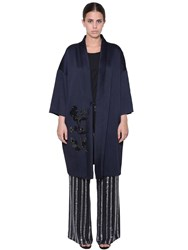 Marina Rinaldi Beads And Sequins Kimono Coat Blue