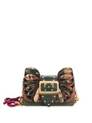 Burberry Snakeskin Ostrich And Check Ruffle Buckle Chain Shoulder Bag Rose Pink