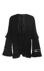 Andrew Gn Flared Sleeve Knitted Top With Fringe Black