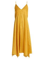 Christophe Lemaire Cotton And Silk Blend Lingerie Slip Dress Yellow