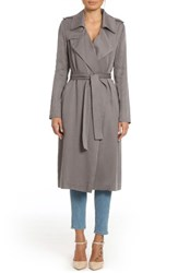 Badgley Mischka Women's Faux Leather Trim Long Trench Coat Graphite