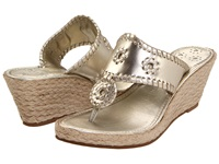 Jack Rogers Marbella Mid Height Espadrille Platinum Women's Wedge Shoes Silver