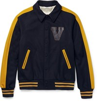 Valentino Leather Appliqued Felted Wool Blend Varsity Jacket Navy